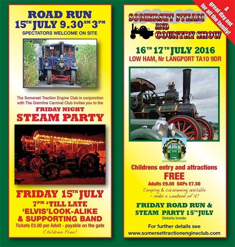 Somerset Steam and Country Show – 15th 16th 17th July 2016
